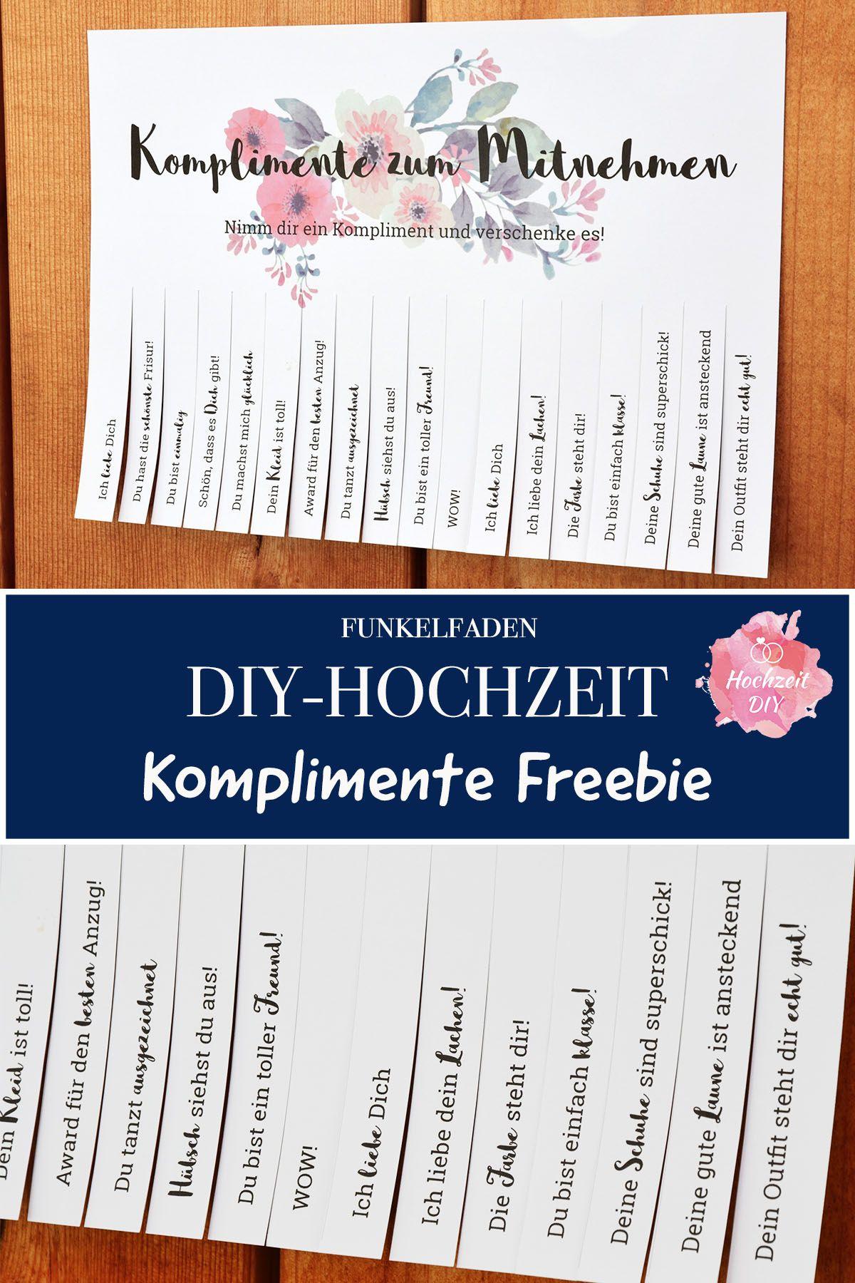 Freebie für die DIY-Hochzeit - Hochzeitsspiel Komplimente für Gäste #vintagesuitcasewedding