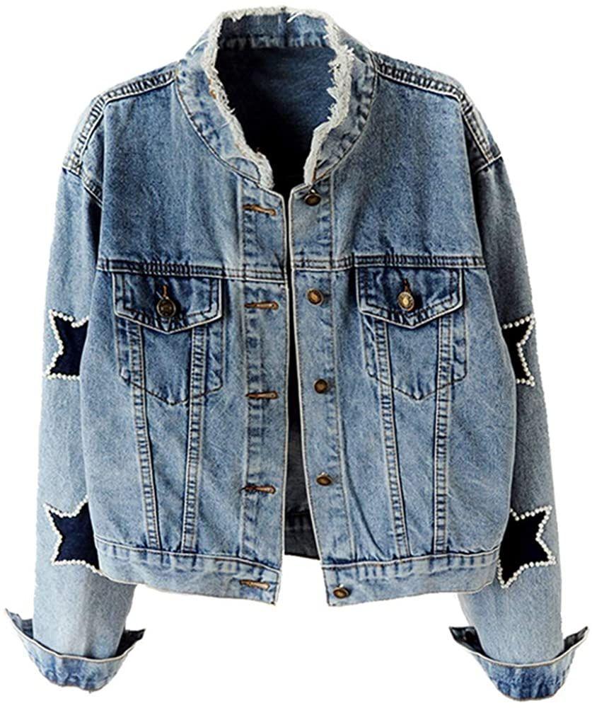 New Kedera Women S Star Embroidered Rivet Pearl Denim Jacket Coat Jean Jacket Women Fashion Is A P In 2020 Denim Jacket Embroidered Denim Jacket Jean Jacket Women [ 1000 x 837 Pixel ]