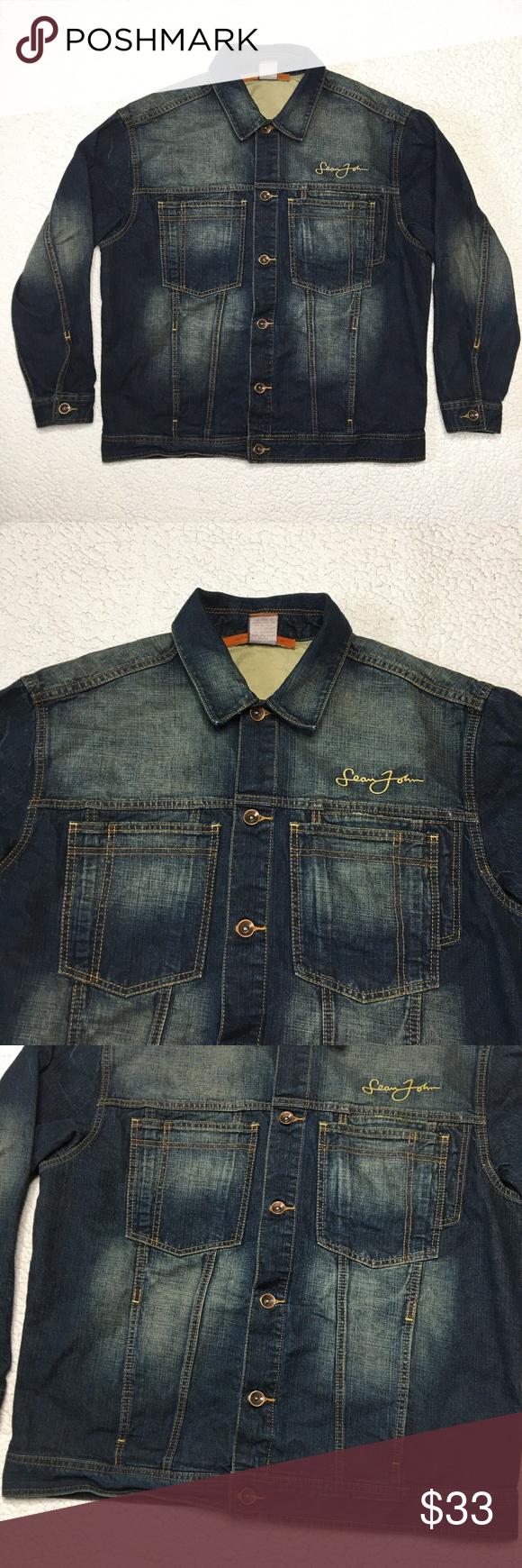 Sean John Denim Jean Jacket Burnout Distressed Denim Jean Jacket Jean Jacket Denim Jeans [ 1740 x 580 Pixel ]