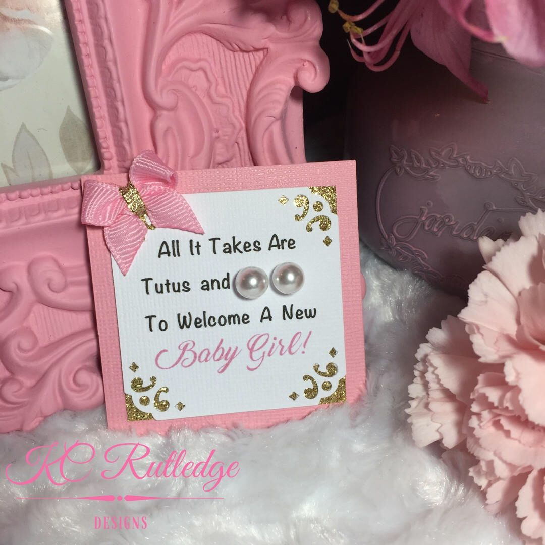 Ballerina Pearl Earring Baby Shower Favors, Pink and Gold Baby ...