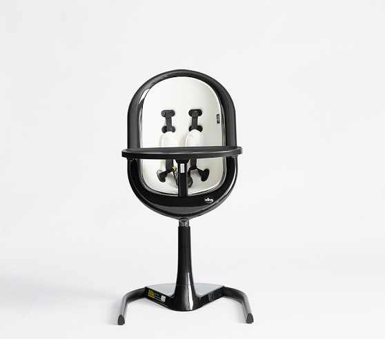 Mima Moon High Chair In Black Frame Silver Seat