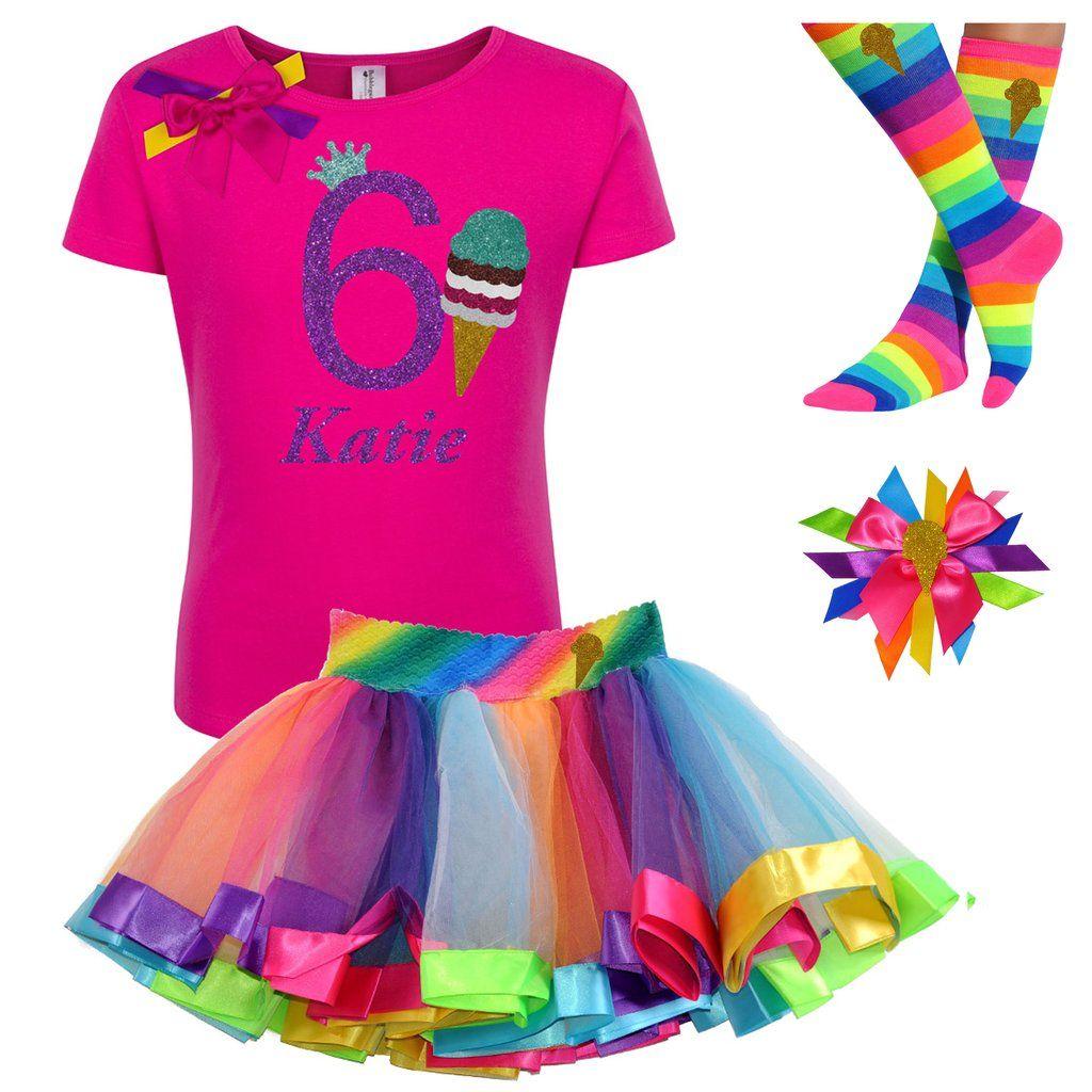 Bubblegum Divas Personalized Unicorn Shirt Rainbow Outfit Birthday Gift Set 4PC