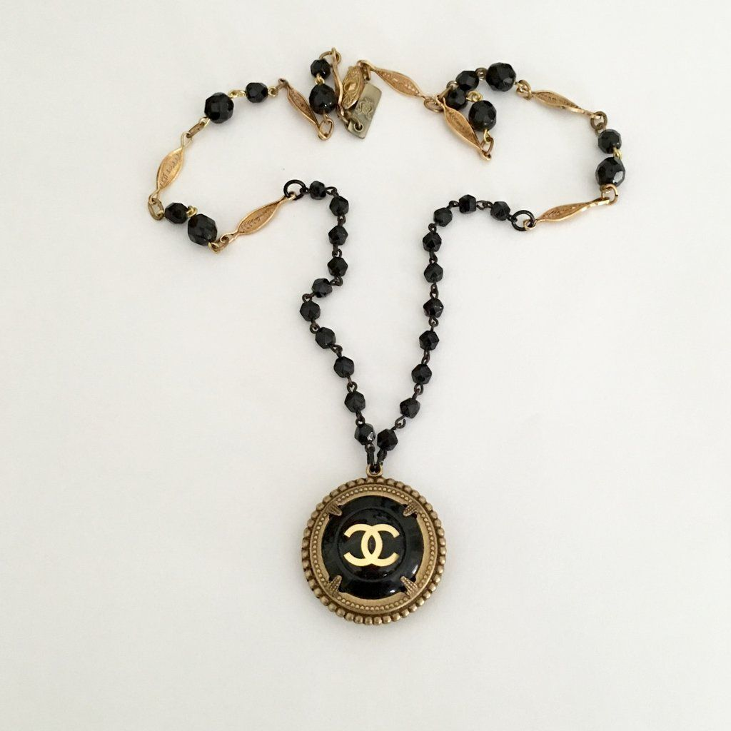 Midnight vintage Chanel button necklace
