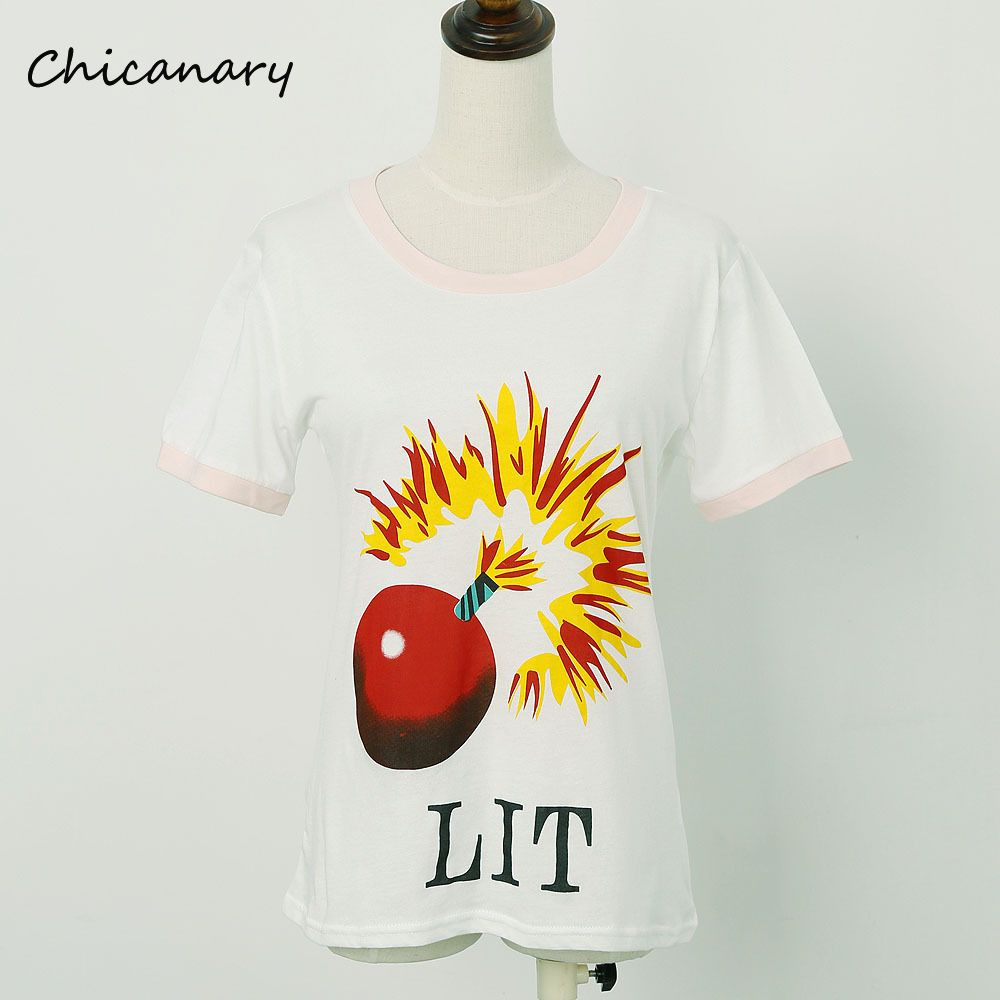 >> Click to Buy << Chicanary Lit Bomb Graphics Women Contrast Color T-shirts Cotton Knit Cartoon Short Sleeve Tees Tops #Affiliate