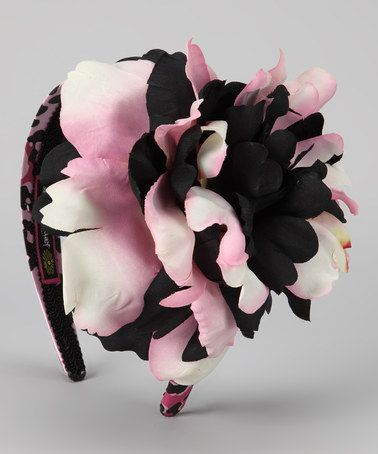 Take a look at this Pink & Black Leopard Peony Headband by Jamie Rae Hats on #zulily today!