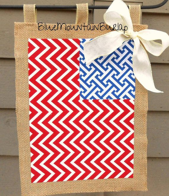 Burlap American Flag Garden Flag, Summer Garden Flag, Patriotic Garden Flag, Summer Burlap Garden Flag on Etsy, $22.00