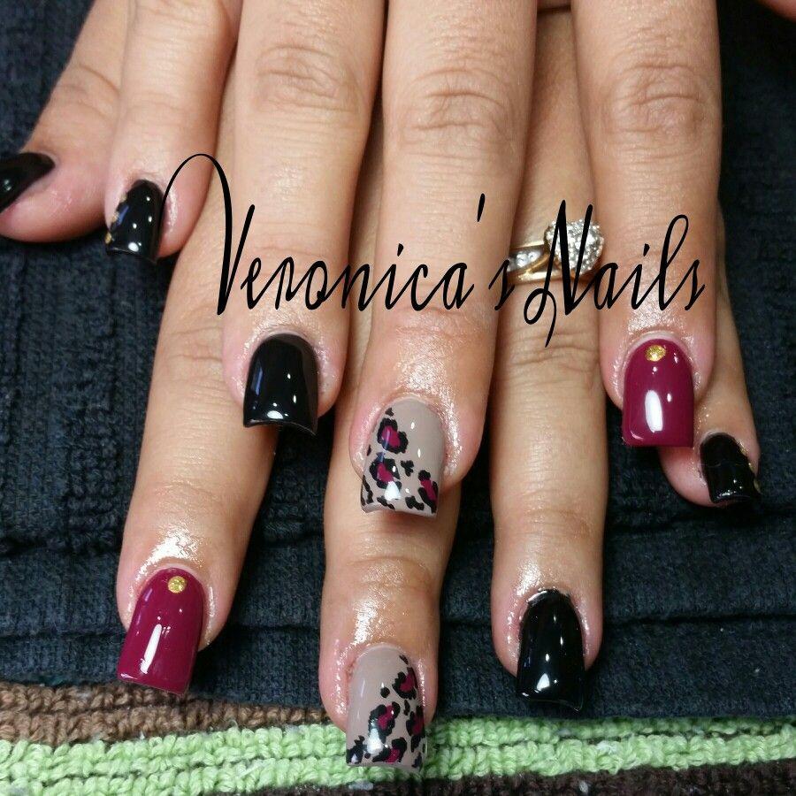nailedbyvee grey black burgundy