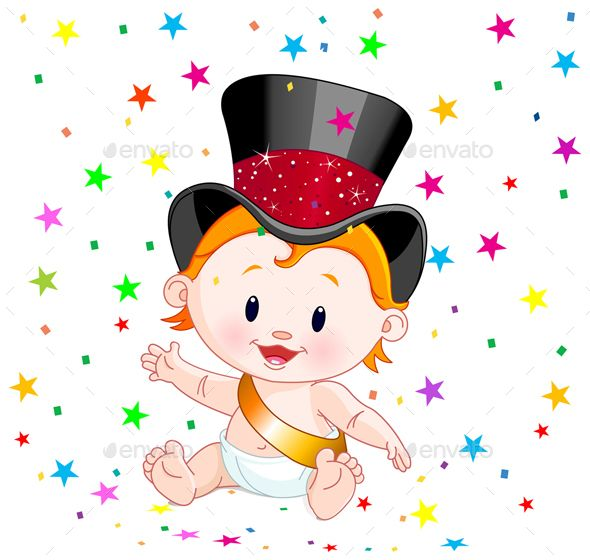 buy new year baby by dazdraperma on graphicriver cute baby in a top hat with party confetti