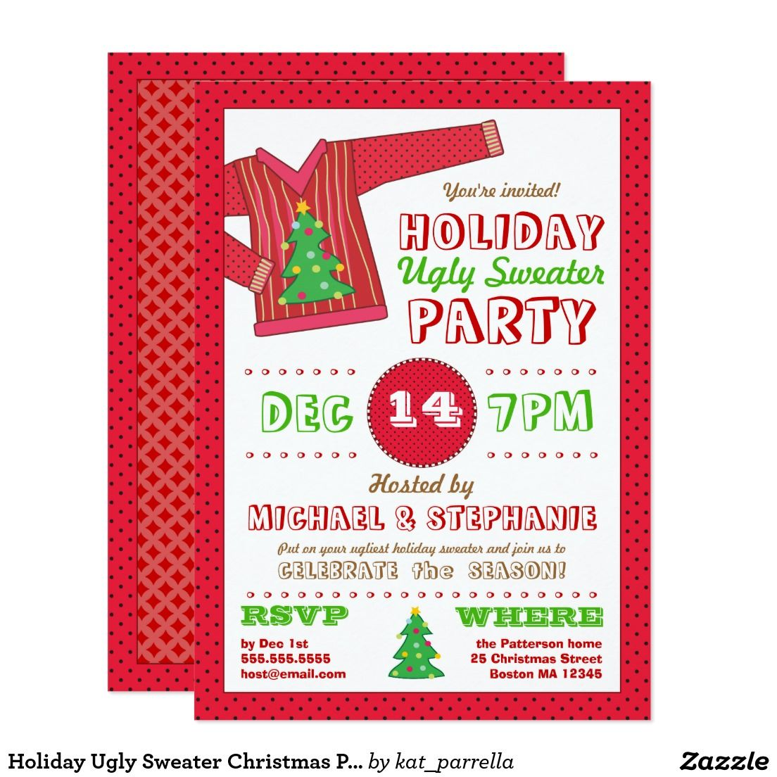 Holiday Ugly Sweater Christmas Party Invitation | Christmas Party ...