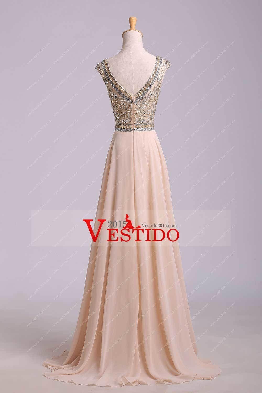 2014 vestidos de baile Elegante A-Line Scoop blusa moldeada suelo ...