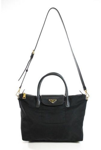0b8e1b443c671 PRADA Black Nylon Saffiano Leather Trim Tessuto Satchel Handbag EVHB ...