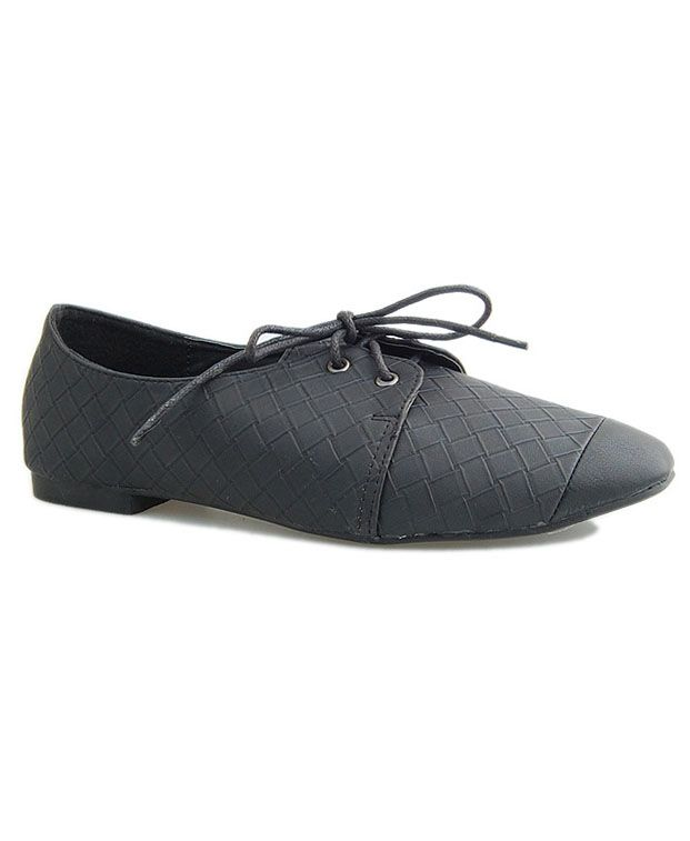 Retro Lace Up Flat Shoes with Embossing Details