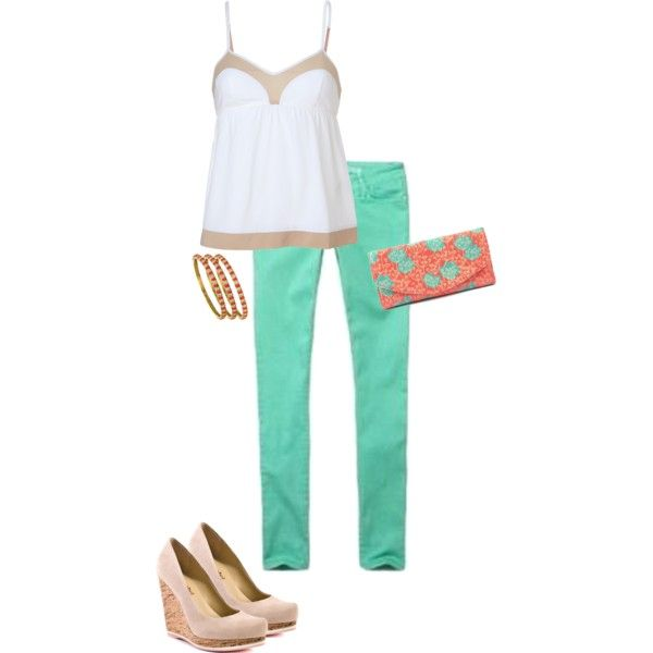 """Mint and coral."" by hannah-rebecca on Polyvore"