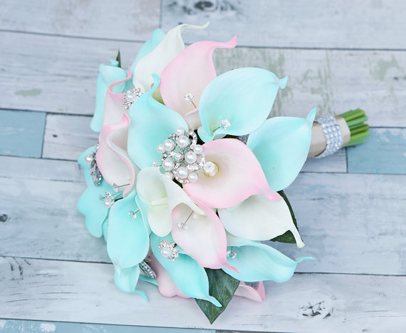 Silk flower wedding bouquet aqua mint and blush pink calla lilies silk flower wedding bouquet aqua mint and blush pink calla lilies and brooches natural touch crystals silk bridal bouquet robbins egg mightylinksfo Images