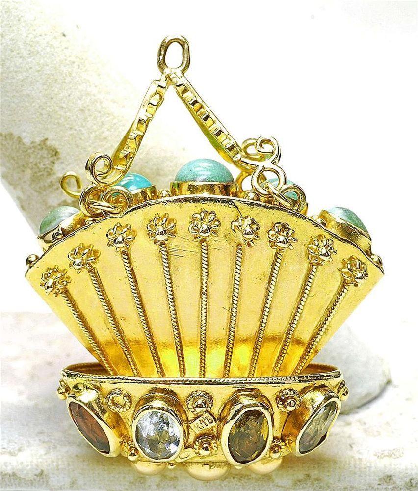 Vintage HUGE 18k Yellow Gold Turquoise & TOPAZ Fan Basket Charm Italy 1960's $1,199.15 eBay Feb 2015 ~ 20.5 Grams