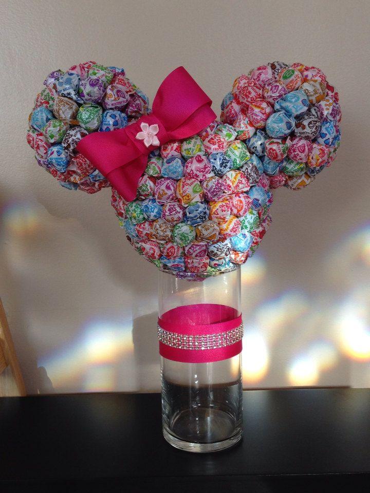 Minnie mouse dum lollipop head w vase by