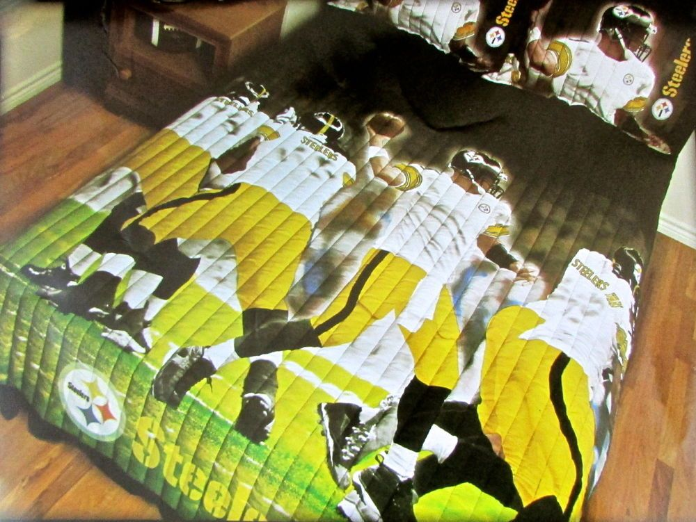 Licensed NFL Pittsburgh Steelers Twin/Full Bed Quilt #Comforter Set #NFL  #PittsburghSteelers