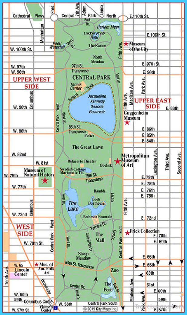 Road Map of Central Park, Manhattan (New York) - New York City Vacation, New York City Map, New York City Travel, Ny Map, Central Park Map, Central Park Manhattan, Restaurants In Nyc, Manhattan New York, Lower Manhattan