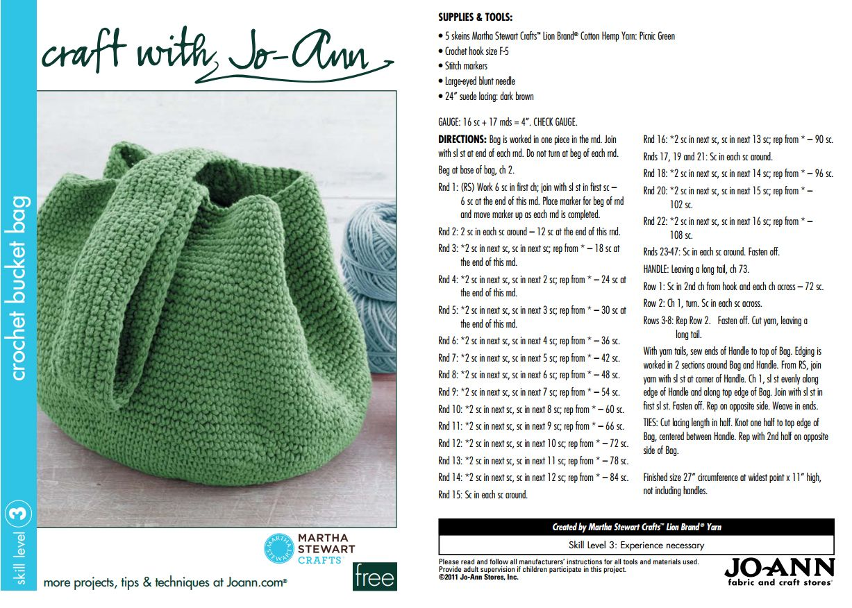Free martha stewart bucket bag pattern crochet crazy free free martha stewart bucket bag pattern bankloansurffo Gallery