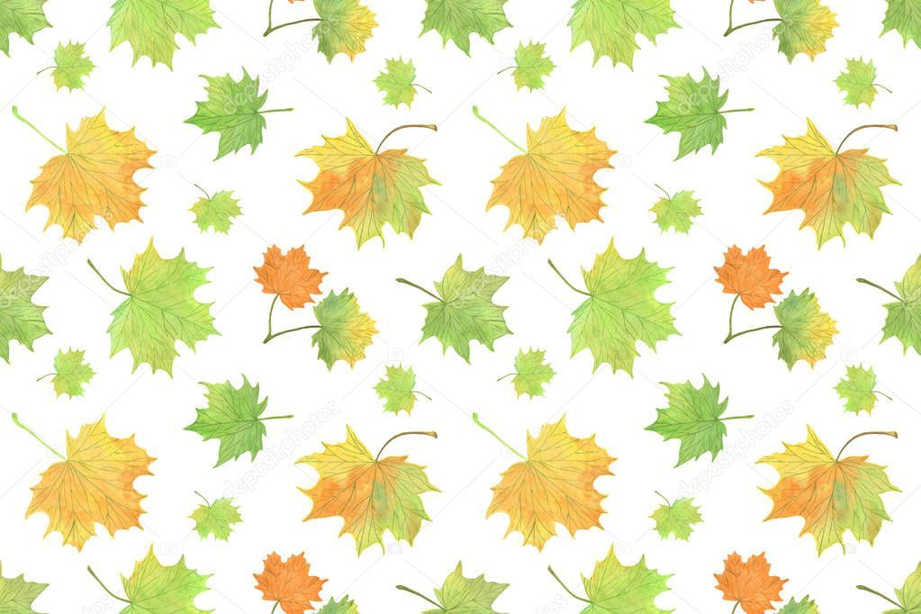 Watercolor Green And Yellowish Autumn Maple Leaves Repeat Pattern Seasonal Ill Ad Autumn Maple Yellowish Waterc In 2020 Watercolor Maple Leaf Illustration