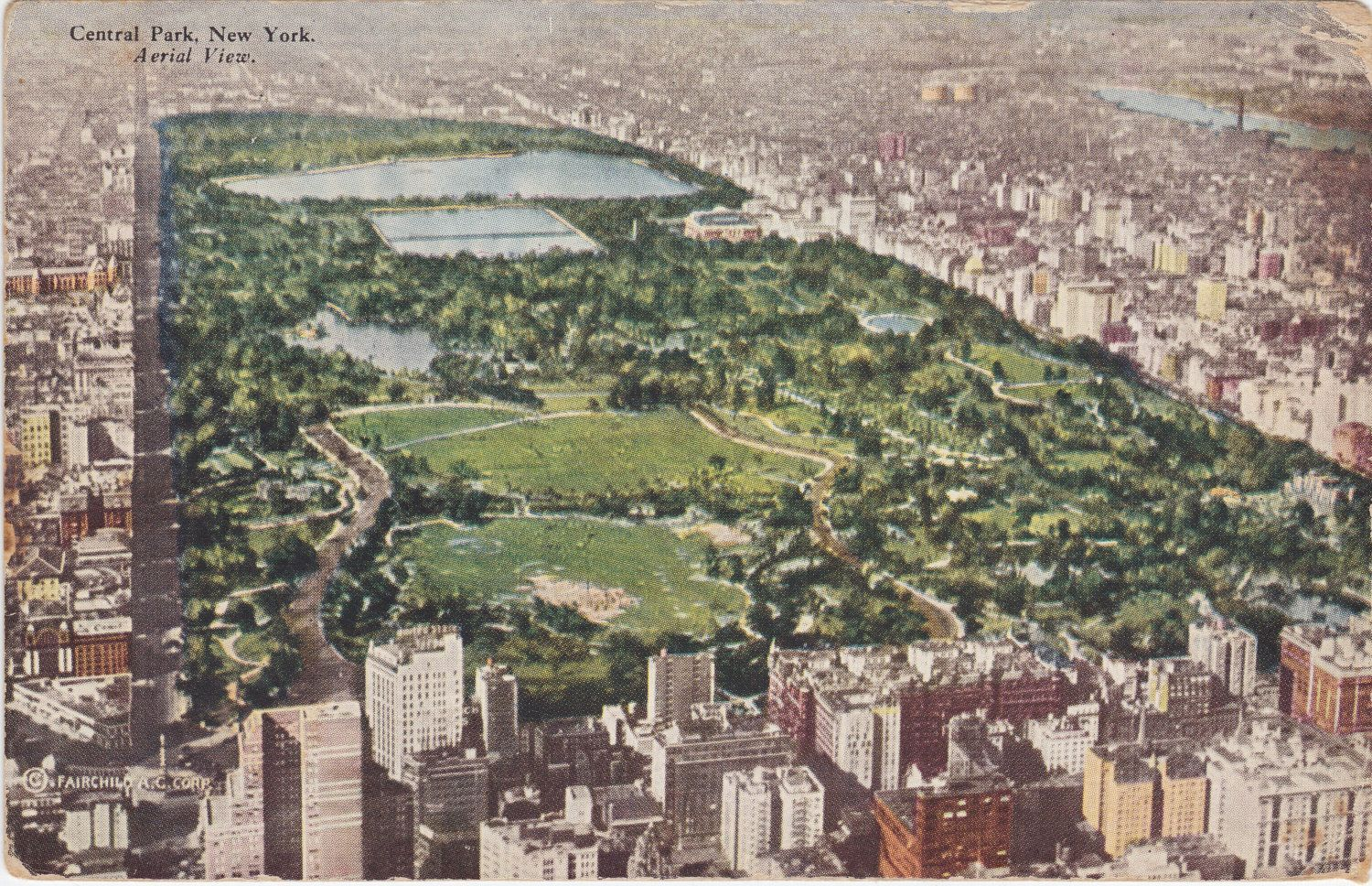 CENTRAL PARK, New York, Aerial View. 1940s Vintage