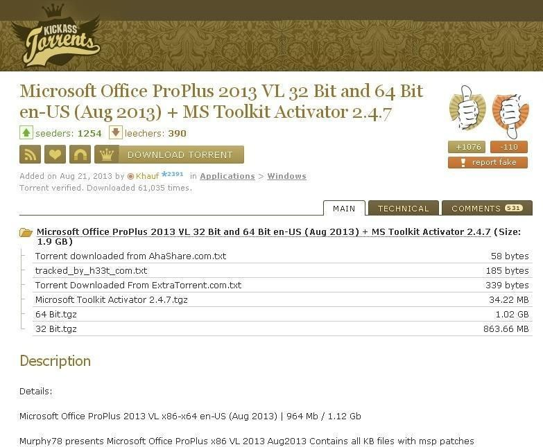 Microsoft Office ProPlus 2013 VL 32 Bit and 64 Bit en-US (Aug 2013 - spreadsheet free download windows 7 64 bit