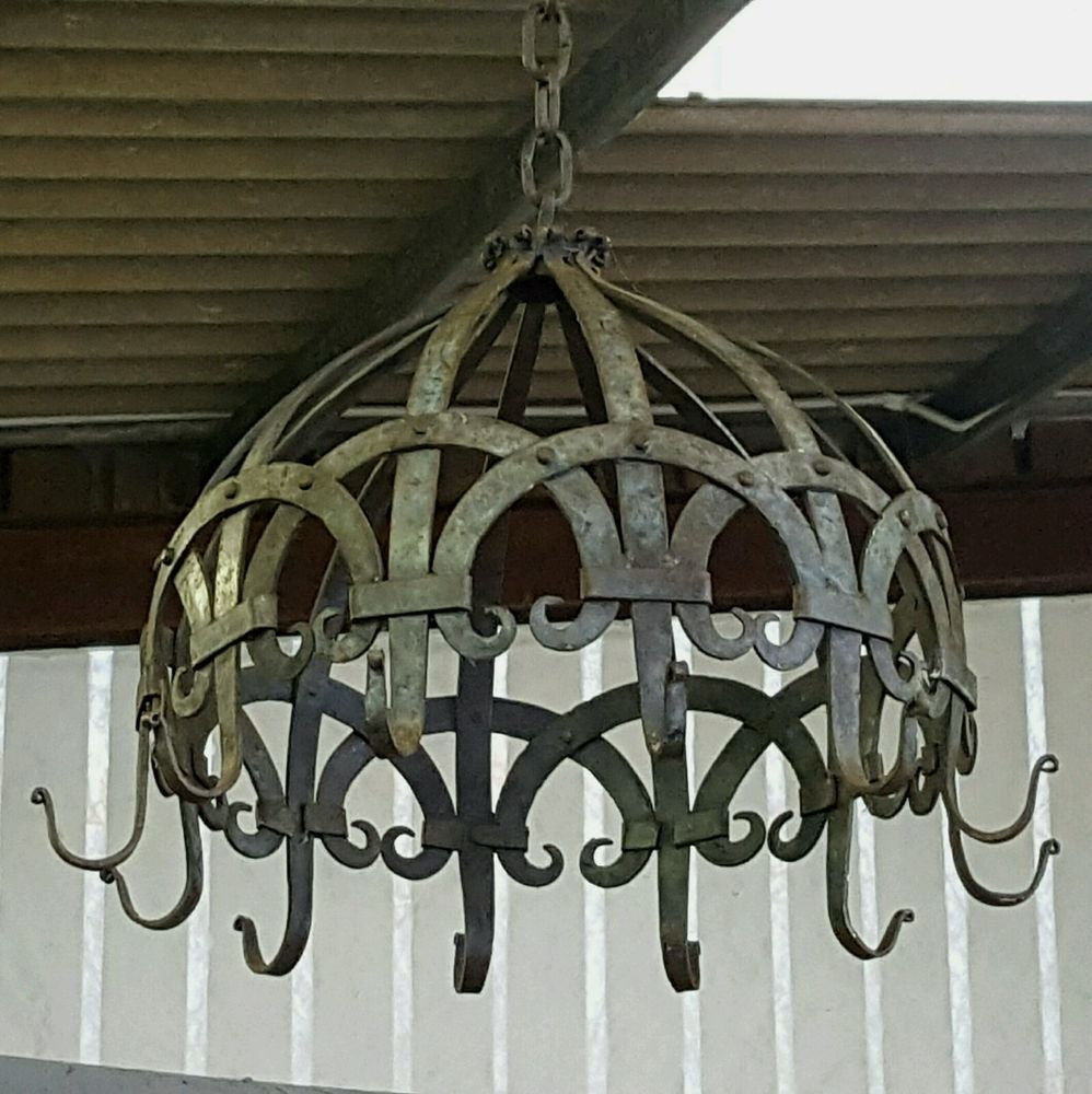 Antique vintage iron gothic wrought medieval hanging chandelier antique vintage iron gothic wrought medieval hanging chandelier industrial chic arubaitofo Images