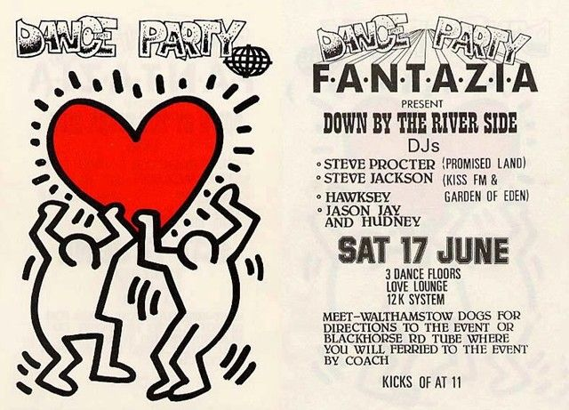 Uk Party Flyers By Keith Haring 1980s 1990s Techno Quotes Keith Haring Flyer