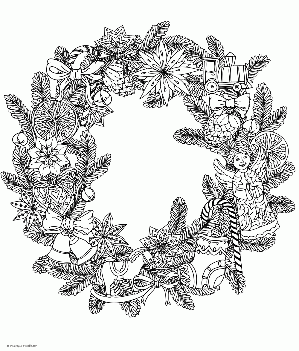 Christmas Wreath Coloring Page , Christmas Wreath Pictures