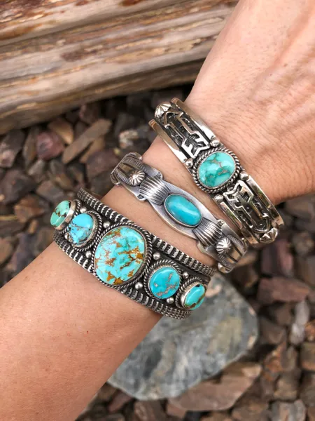 Sterling Silver Five Stone Royston Turquoise Bracelet is part of Pretty earrings dangle, Circle earrings studs, Boho earrings, Chunky jewelry, Statement drop earrings, Coin earrings -