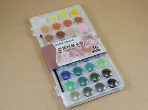 Simbalion Solid Watercolor Paint 36 Colors Art Set Non Toxic