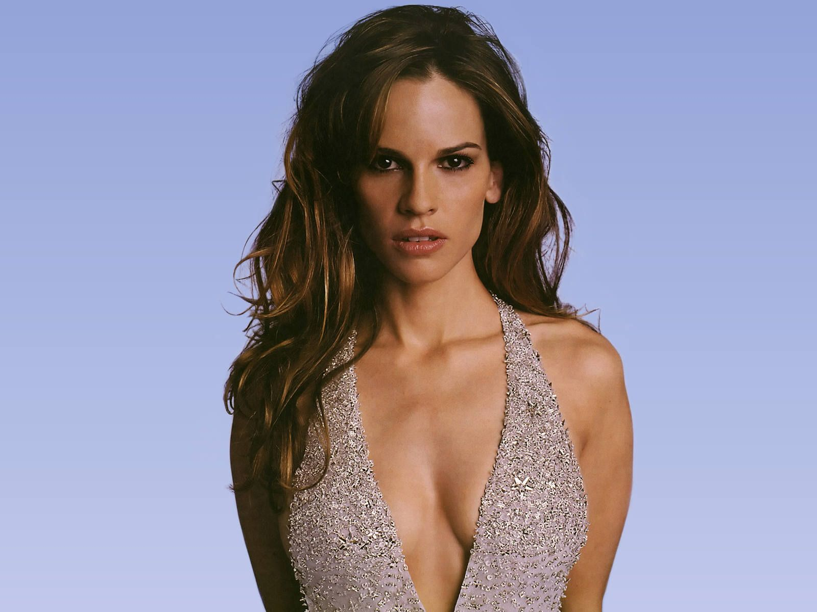 hilary swank blue dress