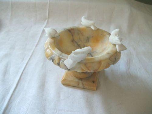 Marble Bird Bath W Birds Doves Italy Miniature Birdbaths