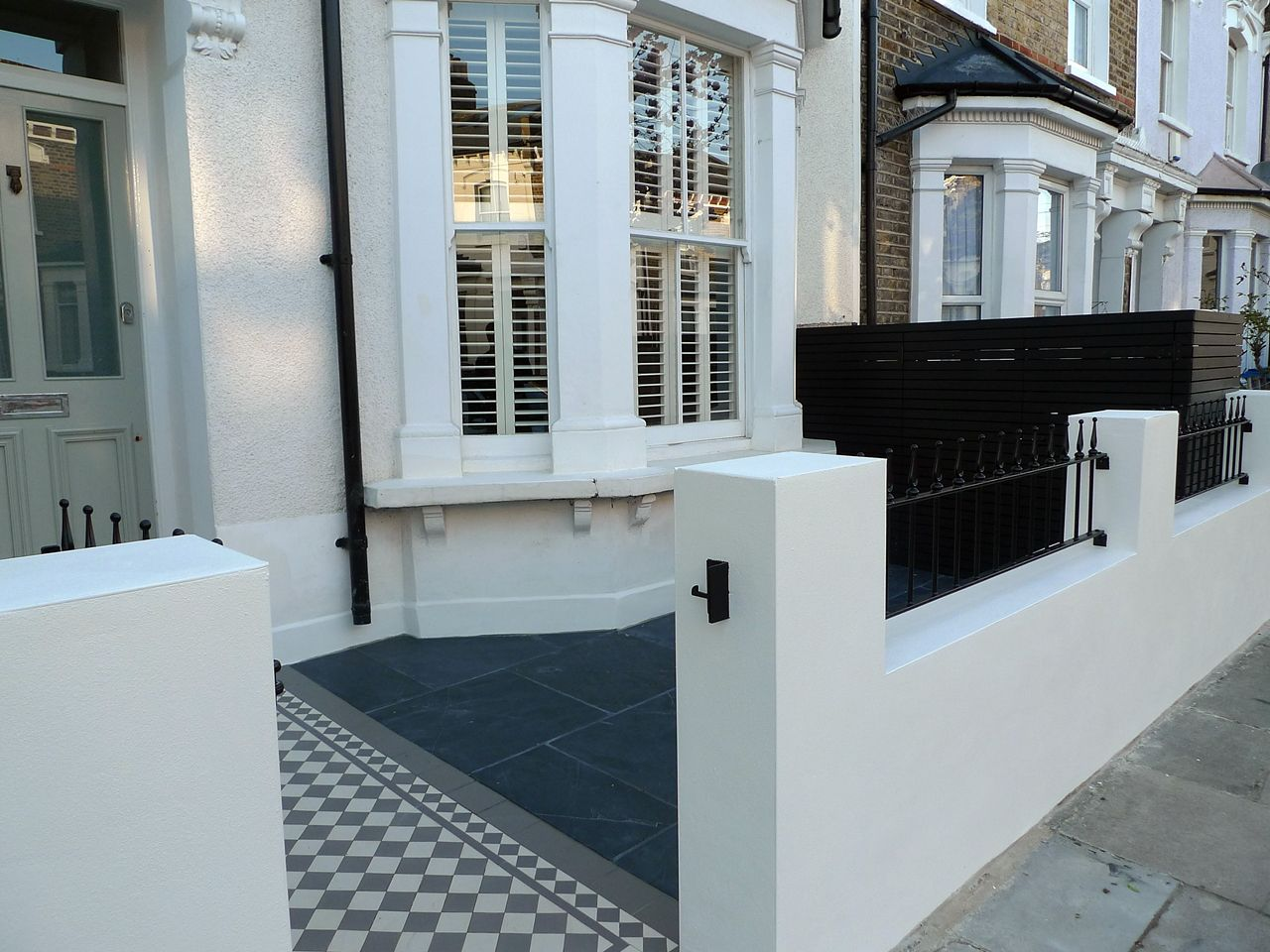 victorian front garden design london render plaster block wall slate paving bin bike store bespoke grey and white mosaic
