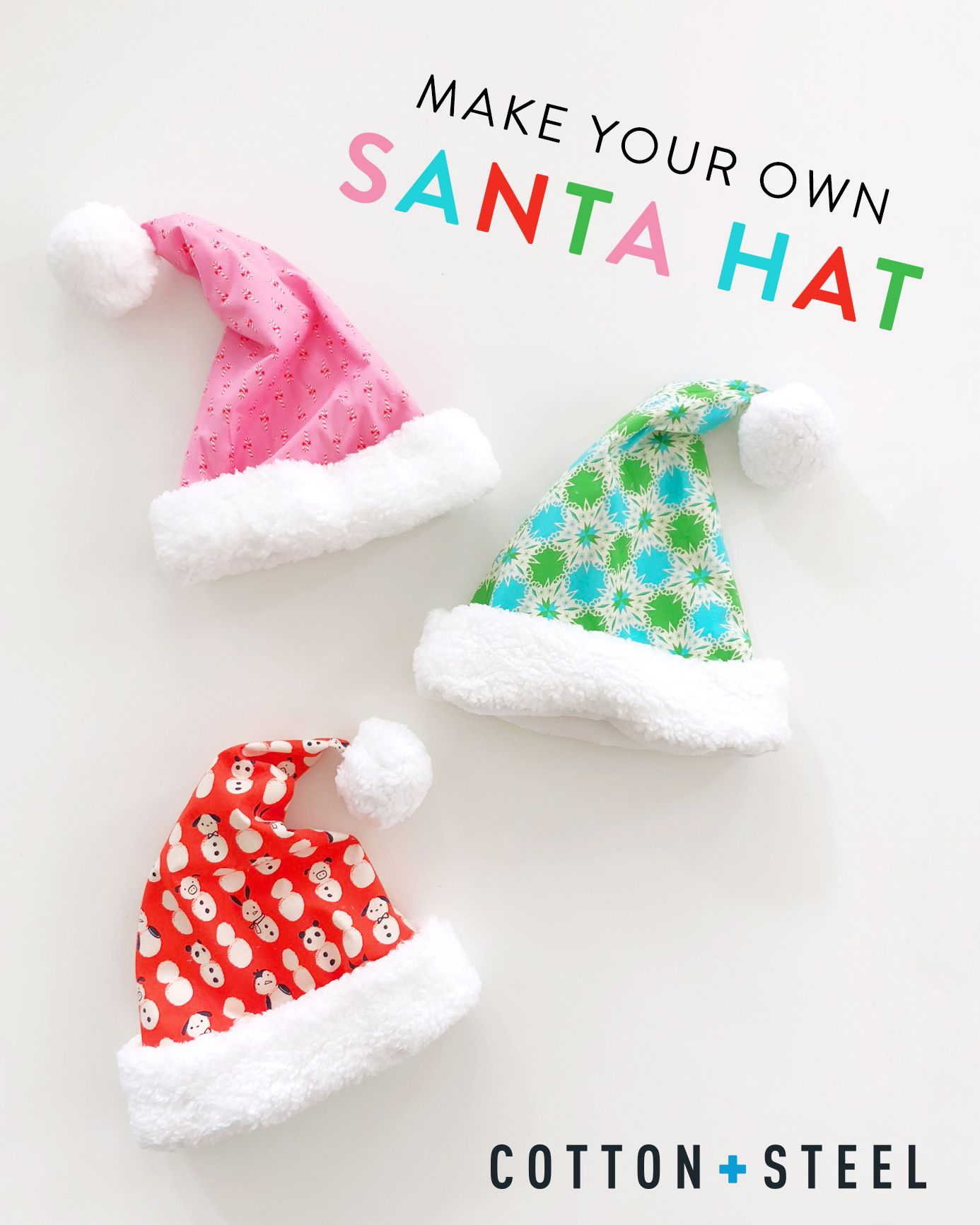 Santa Hat Tutorial (quilting cotton & super fuzzy fleece) | Sewing ...