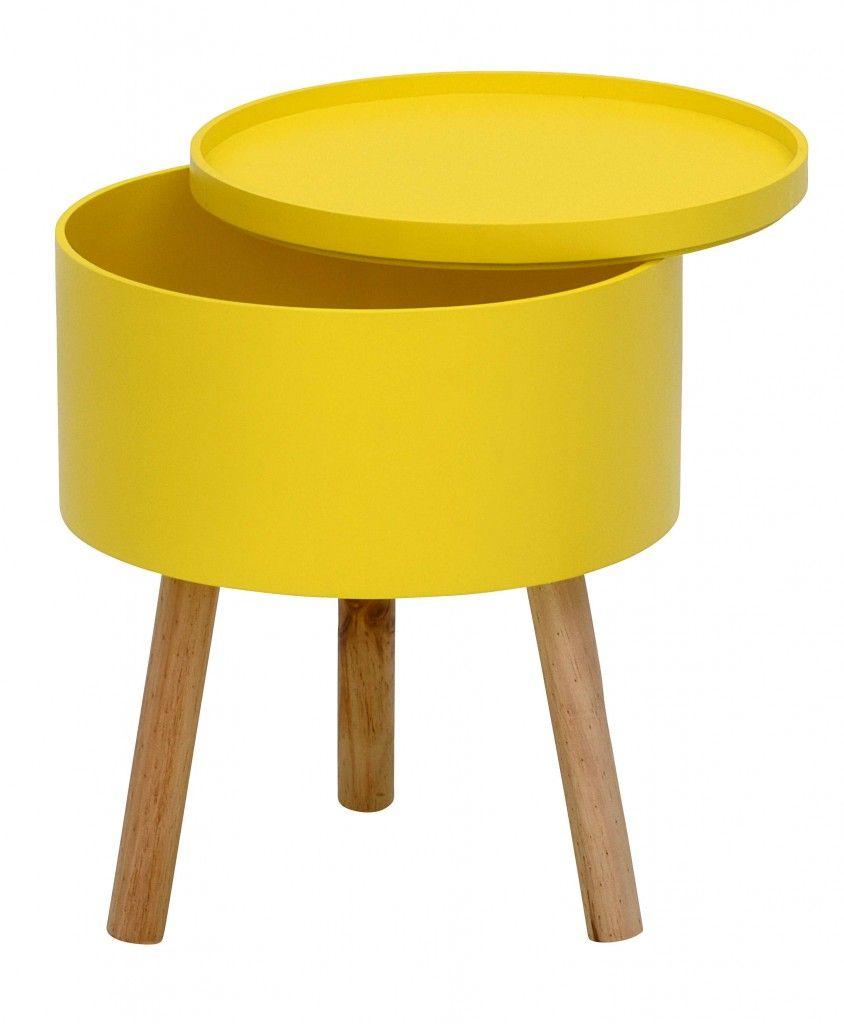 Beistelltisch EMMEN Tisch Rund Tablet/Deckel Abnnehmbar Versch. Farben  (Maße: Durchmesser Ca