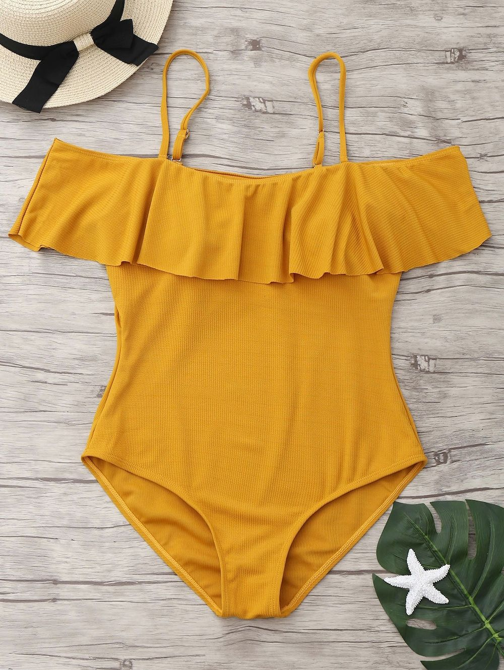 fcdb778e36 Ribbed Knit Flounce One Piece Swimsuit - GINGER M | Just Keep ...