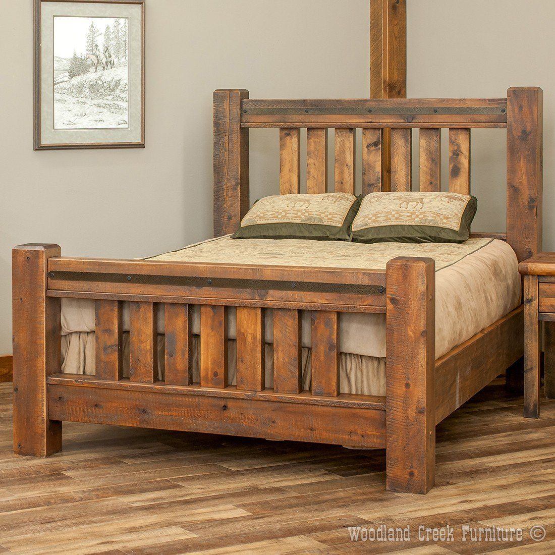Sawmill Spindle Rough Sawn Timber Bed  Rustic bed frame, Rustic