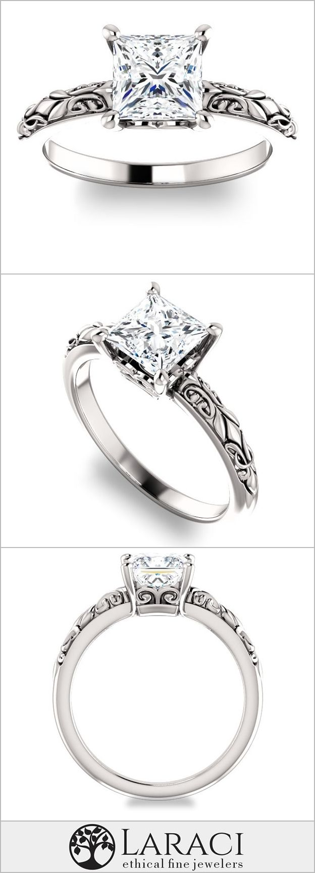 14K White Gold Solitaire Vintage Inspired Engagement Ring set with a 0.9ct (5.5mm) Princess Forever Brilliant Moissanite