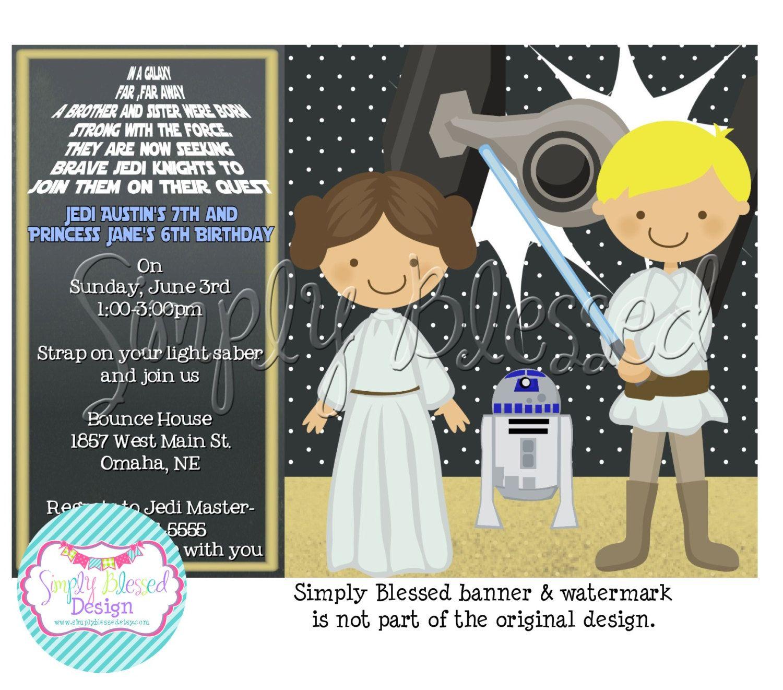Joint Birthday Star Wars Princess/Jedi Party Birthday Invitation ...