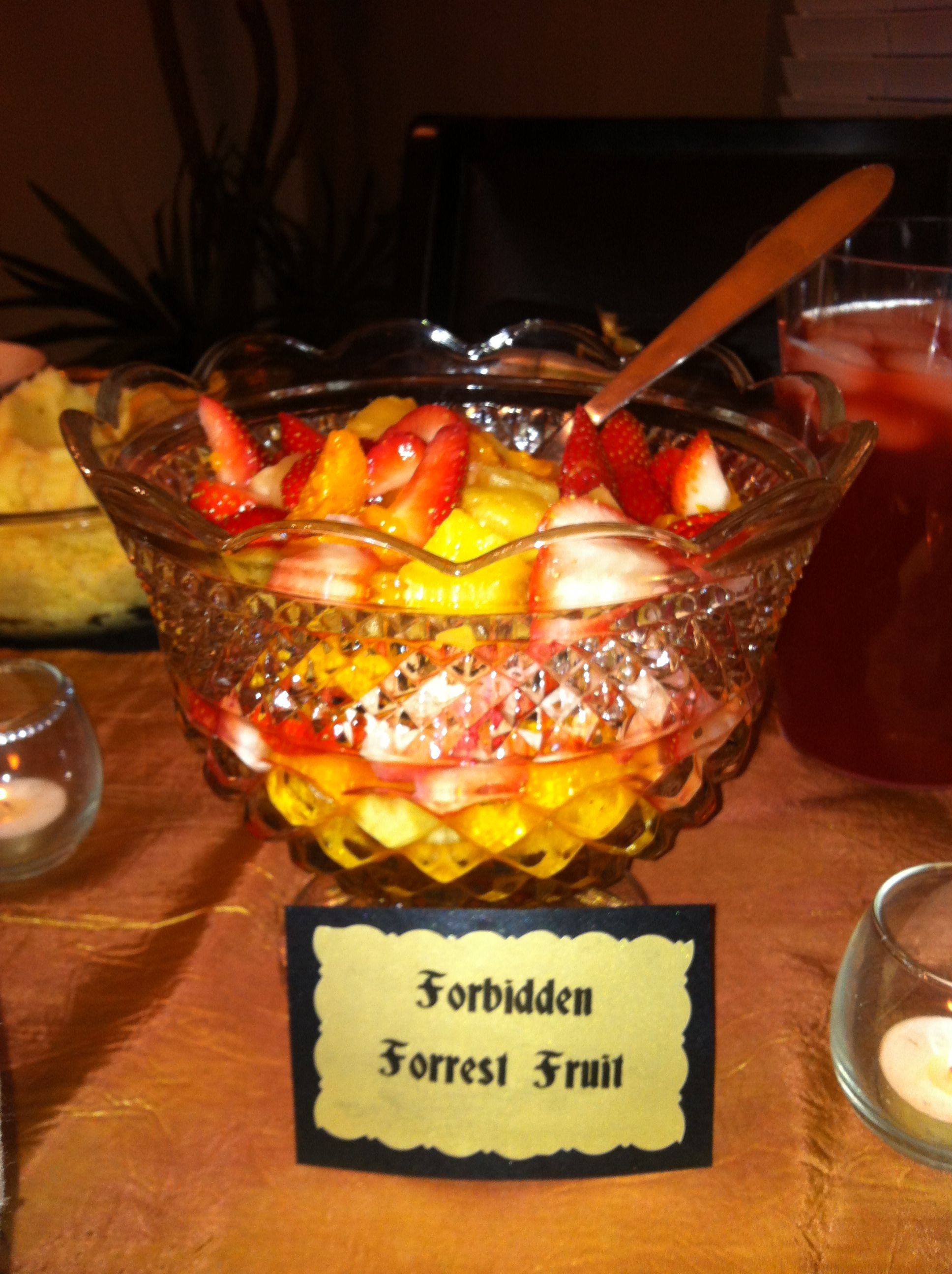 Forbidden Forest Fruit. YUMMY! Mandarin oranges, strawberries and pineapple.