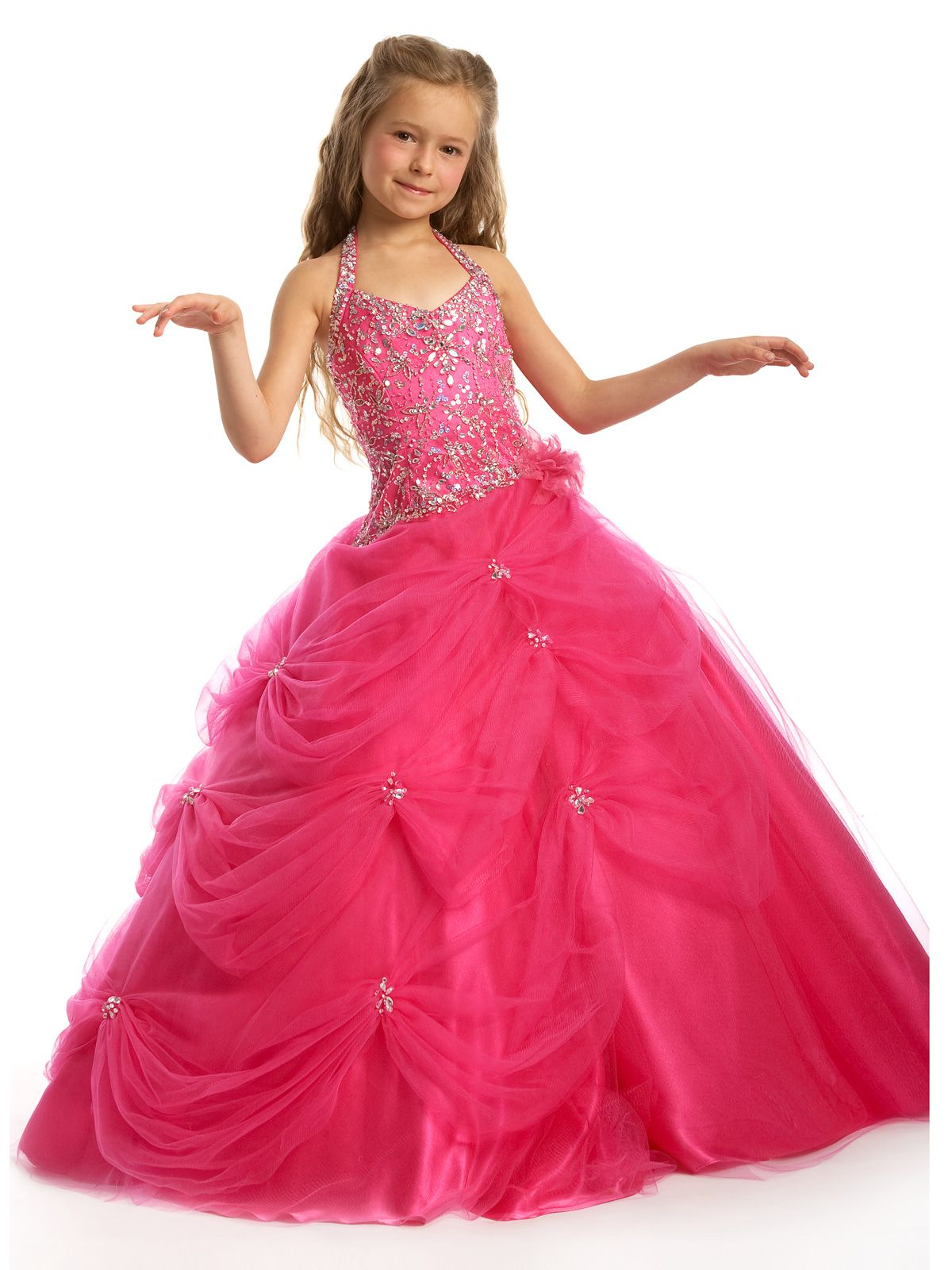 hot pink brides maid dresses for girls