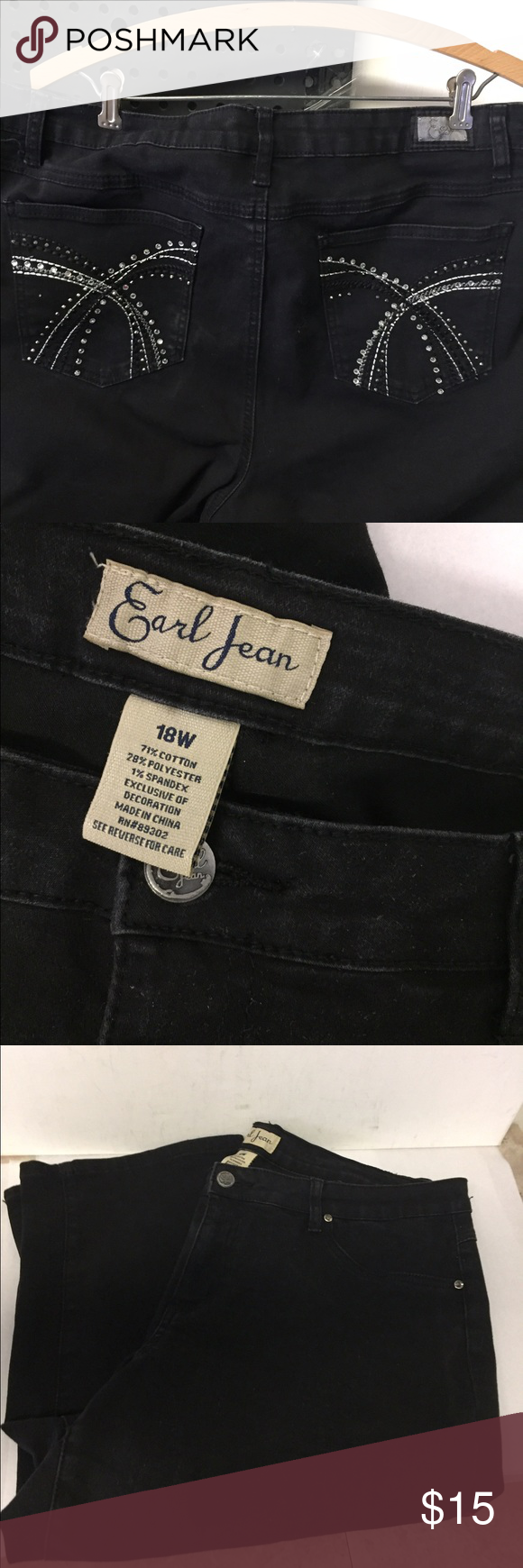 "Earl Black Denim Capri Pants sz 18W Black denim Capri Jeans. Waist up to 40-44"". Rise up to 10 1/2"".  Inseam 20"". Earl Jeans Pants Capris"