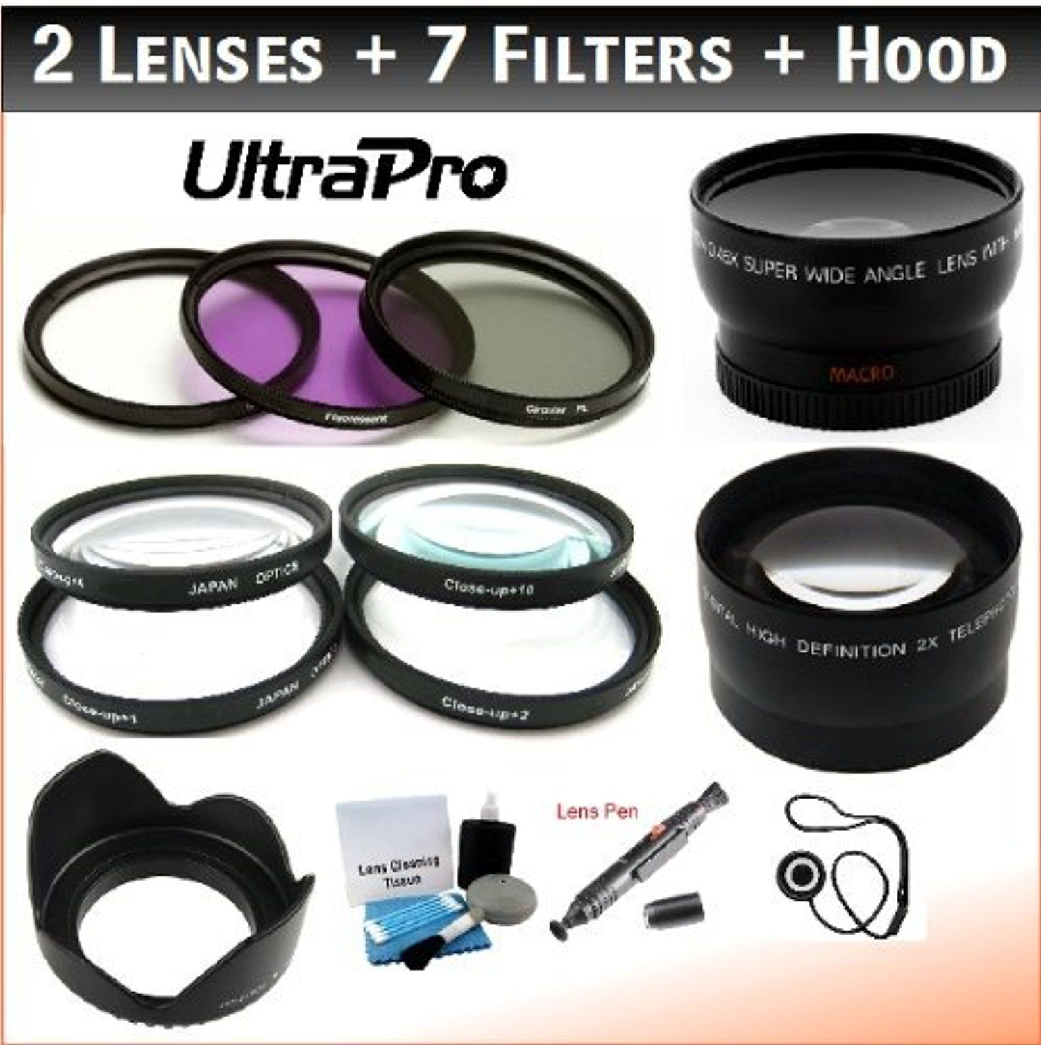55mm Deluxe Lens + Filter Bundle UV, CPL, FLD, +1, +2