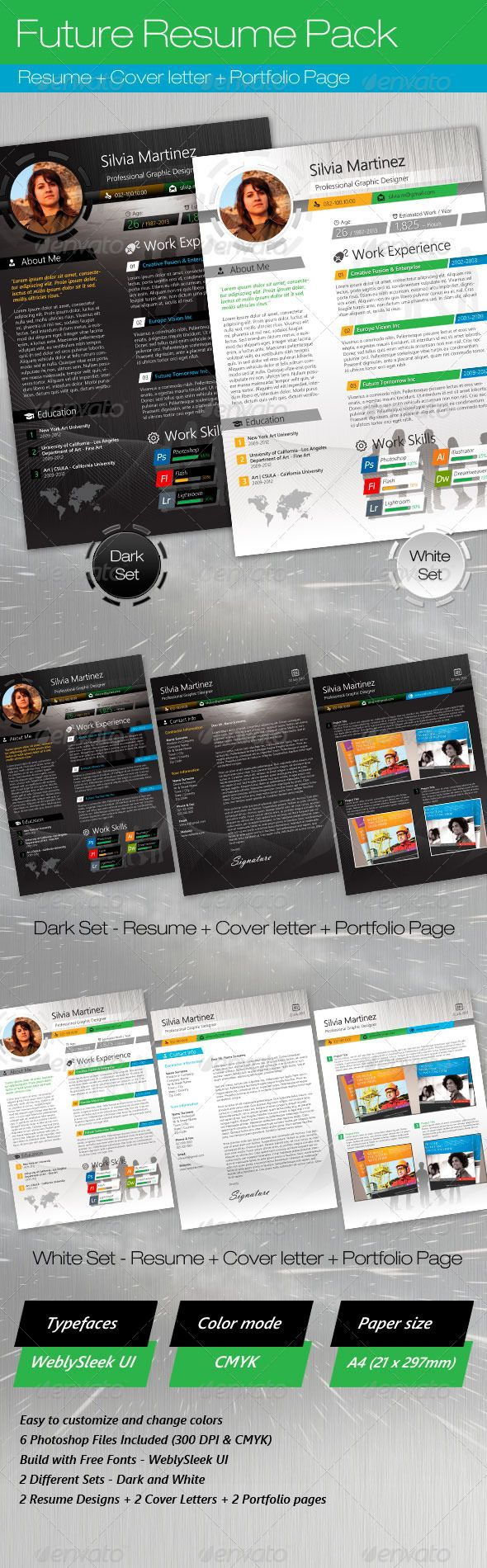 Future Resume Pack (2 color themes) | Color themes, Future and ...