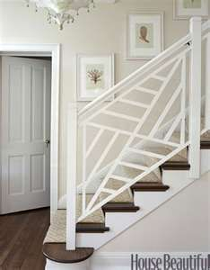 White Wood Staircase I Would Change It To Make Post Dark Wood And Center  Panels Left
