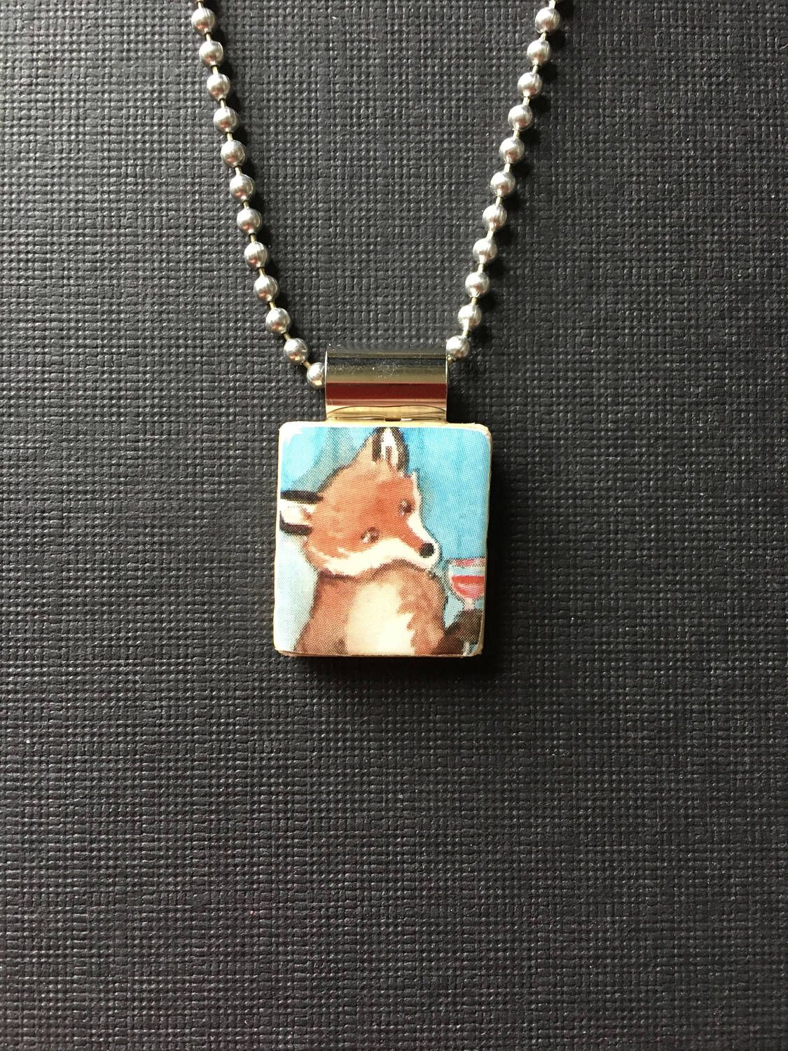 Fox pendant, Handmade wine pendant, fox drinking wine necklace, wine lovers gift, handmade fox jewelry, recycled scrabble tile jewelry by InSmallPackages on Etsy