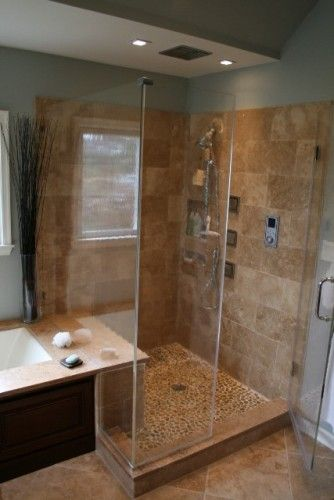 Natural Finishes Custom Shower... the flow of the tub into the ...