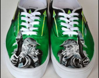 green arrow sneakers mens vans hand painted shoes for men