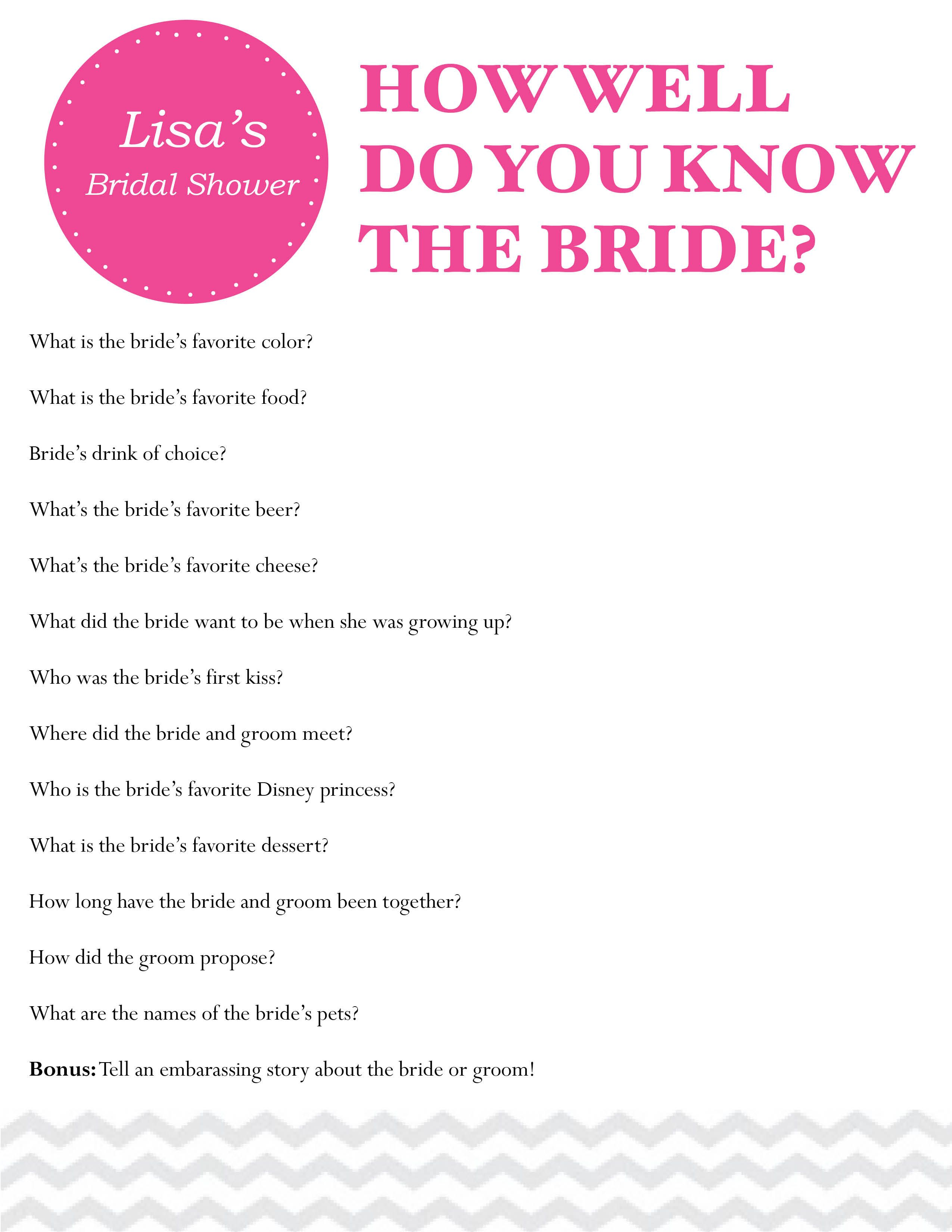 Questions To Ask A Bride At A Bridal Shower